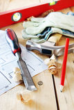 Carpenter working tools on the wooden table Stock Image