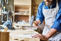 Carpenter Working in Traditional Shop royalty free stock photos