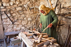 Carpenter working on traditional way Royalty Free Stock Images