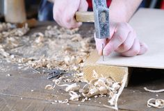Carpenter working. Royalty Free Stock Photography