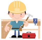 Carpenter/Workman with tools Stock Photo
