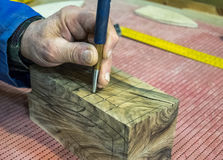Carpenter workplace- Manuals works on wood.  royalty free stock photos