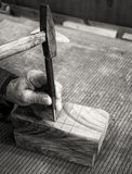 Carpenter workplace- Manuals works on wood. Carpenter workplace- Manuals works on wood, antique effect, sepia royalty free stock photos