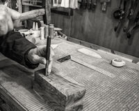Carpenter workplace- Manuals works on wood. Carpenter workplace- Manuals works on wood, antique effect, sepia stock images