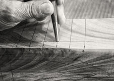 Carpenter workplace- Manuals works on wood. Carpenter workplace- Manuals works on wood, antique effect, sepia royalty free stock photo