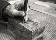 Carpenter workplace- Manuals works on wood. Carpenter workplace- Manuals works on wood, antique effect, sepia stock photos
