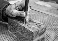 Carpenter workplace- Manuals works on wood. Carpenter workplace- Manuals works on wood, black and white stock photos
