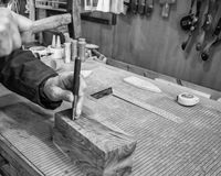 Carpenter workplace- Manuals works on wood. Carpenter workplace- Manuals works on wood, black and white royalty free stock photos