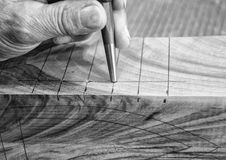 Carpenter workplace- Manuals works on wood. Carpenter workplace- Manuals works on wood, black and white royalty free stock images