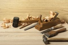 Carpentry concept.Joiner carpenter workplace. Different tools on wooden table. Copy space for text.