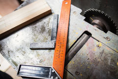 Carpenter workplace with tools Stock Photos