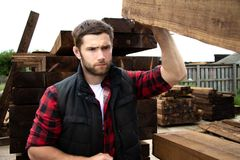 Lumber yard worker, carpenter, choosing, seclecting carrying timber planks stock photography