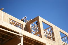 Carpenters. Working on wood frame condominium complex Royalty Free Stock Photography