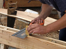 Carpenters hands Royalty Free Stock Image