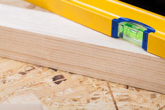 Carpenters level, ruler and right angle Royalty Free Stock Images