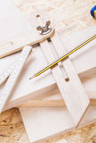 Carpenters level, ruler and right angle Royalty Free Stock Photos