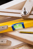 Carpenters level, ruler and right angle Stock Photo