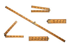 Carpenters old wooden ruler Royalty Free Stock Images