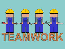 Carpenter's teamwork Stock Images