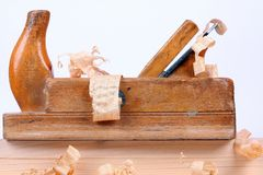 Carpenters tool. With wood shavings Stock Image