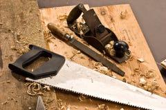 Carpenters tool. Set of carpenters tool on tne wood and shavings Stock Image
