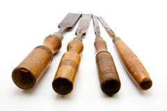 Carpenters Tool Old Chisels Isolated Stock Images