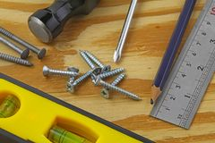 Carpenters tools. A carpenters bench with various tools Stock Image