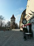 The carpenters tower in old town center of Sibiu Stock Photography