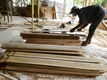 Carpenters. Were making furniture in the city of Solo, Central Java, Indonesia Royalty Free Stock Images