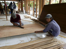 Carpenters. Were making furniture in the city of Solo, Central Java, Indonesia Royalty Free Stock Image