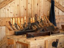 Carpenters Tool Bench. Carpenters or woodworkers tool bench with tools Royalty Free Stock Photos