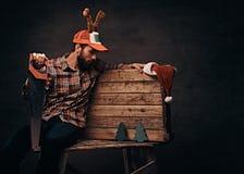 Carpentiere che indossa il cappuccio decorato di natale che si siede su una tavolozza di legno fotografie stock libere da diritti