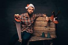Carpentiere che porta il cappello decorato di Santa che si siede su una tavolozza di legno immagini stock libere da diritti