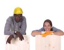 Carpentiere e carpentiere della donna Fotografia Stock
