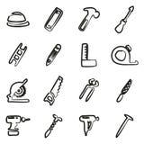 Carpentiere Icons Freehand Fotografie Stock Libere da Diritti