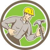 Carpentiere Shouting Hammer Circle del costruttore retro Immagini Stock Libere da Diritti