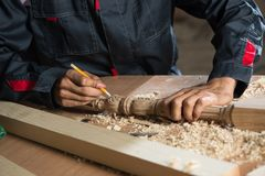 Carpentiere sul lavoro Fotografie Stock