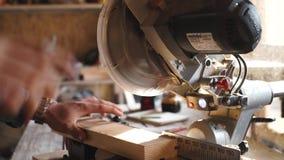 Carpentiere Using Circular Saw per legno nella fine su video d archivio