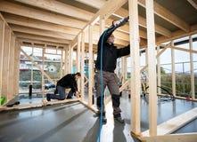 Carpentieri professionisti che perforano legno al sito Immagine Stock