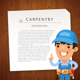 Carpentry Background with Workman Royalty Free Stock Photo