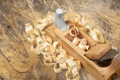 Carpentry. Work tool wood shavings old antique restoring Stock Photography