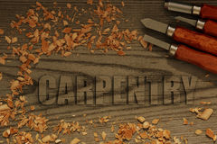 Carpentry carved in wood with chisels Stock Photo