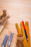 Carpentry chisels wooden boards meter pencil Royalty Free Stock Images