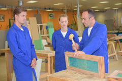 Carpentry class in workshop. Carpentry class in the workshop Stock Photography