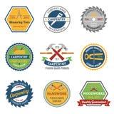 Carpentry color emblems stock illustration