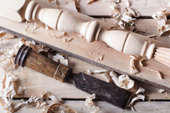 Carpentry concept . Joiner carpenter workplace top view. Construction tools on wooden table with sawdust. Copy space Stock Photo