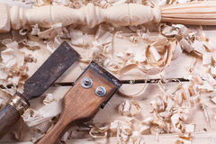 Carpentry concept . Joiner carpenter workplace top view. Construction tools on wooden table with sawdust. Copy space Royalty Free Stock Photos