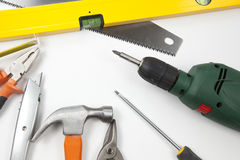 Carpentry, construction tools. On white background Stock Photography