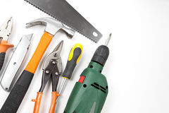 Carpentry, construction tools. On white background Stock Images