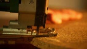 Carpentry - cutting wood jigsaw stock footage